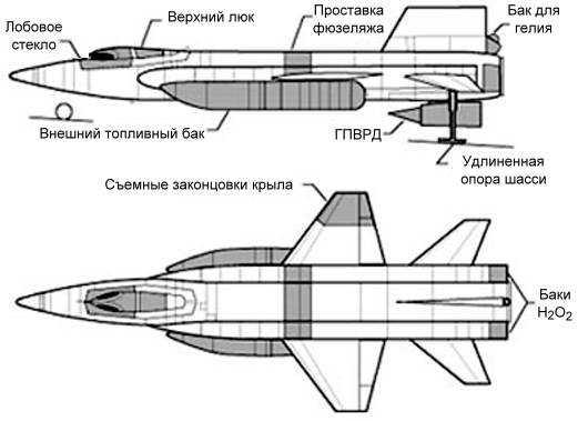 Рис.2 Схема самолета после переоборудования.  Серым цветом выделены отличия модели Х15А от Х15.